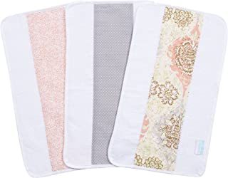 Trend Lab Waverly Rosewater Glam 3 Piece Jumbo Burp Cloth Set, Pink/Cream/Gray/Green