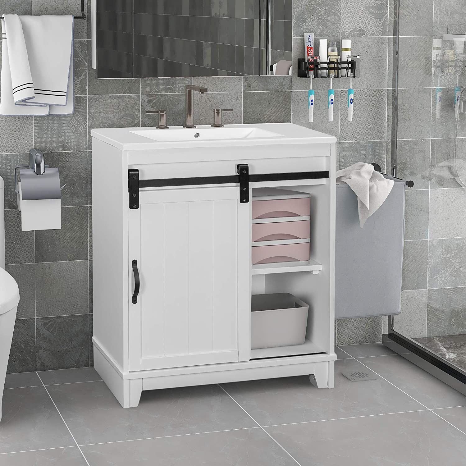 Amazon Com Free Standing Bathroom Vanity With Sliding Bars Door And White Sink Vanity Sink Combo Storage Vanity Cabinet Bathroom Sink Fully Assembled Except For The Door White Tools Home Improvement