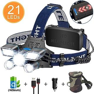Linterna Frontal LED, ERAY Linterna Cabeza Recargable de Alta Potencia 21 LEDs/ 12000 Lúmenes/ 9 Modos/ IPX4 Impermeable/USB Cable + Cargador de Coche + 2 x 2000mAh Baterías + Bolsa de Almacenamiento