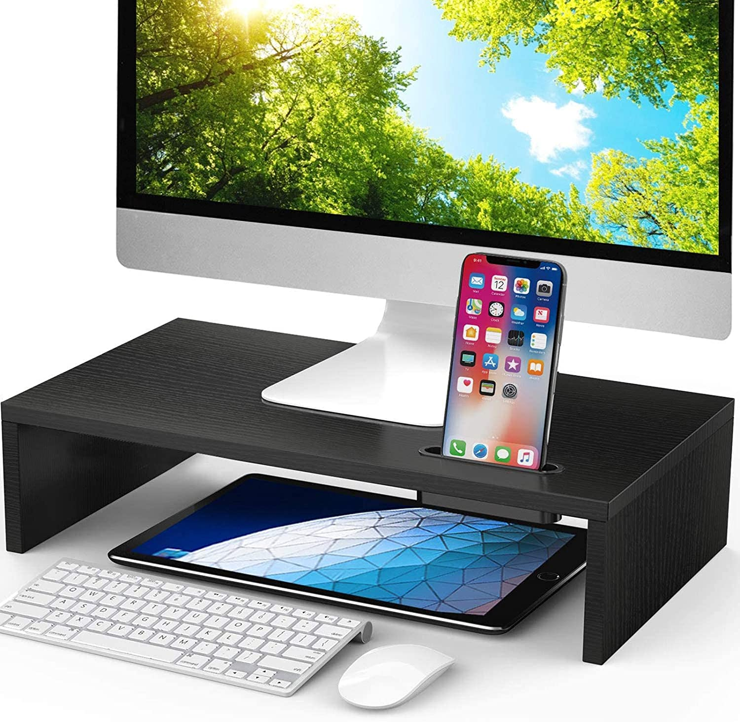 LORYERGO Monitor Stand - 16.5 inch Monitor Stand Riser, Monitor Riser w/Slot for Cellphone & Cable Management, Laptop Stand for Laptop, Computer, Printer & Office Supplies