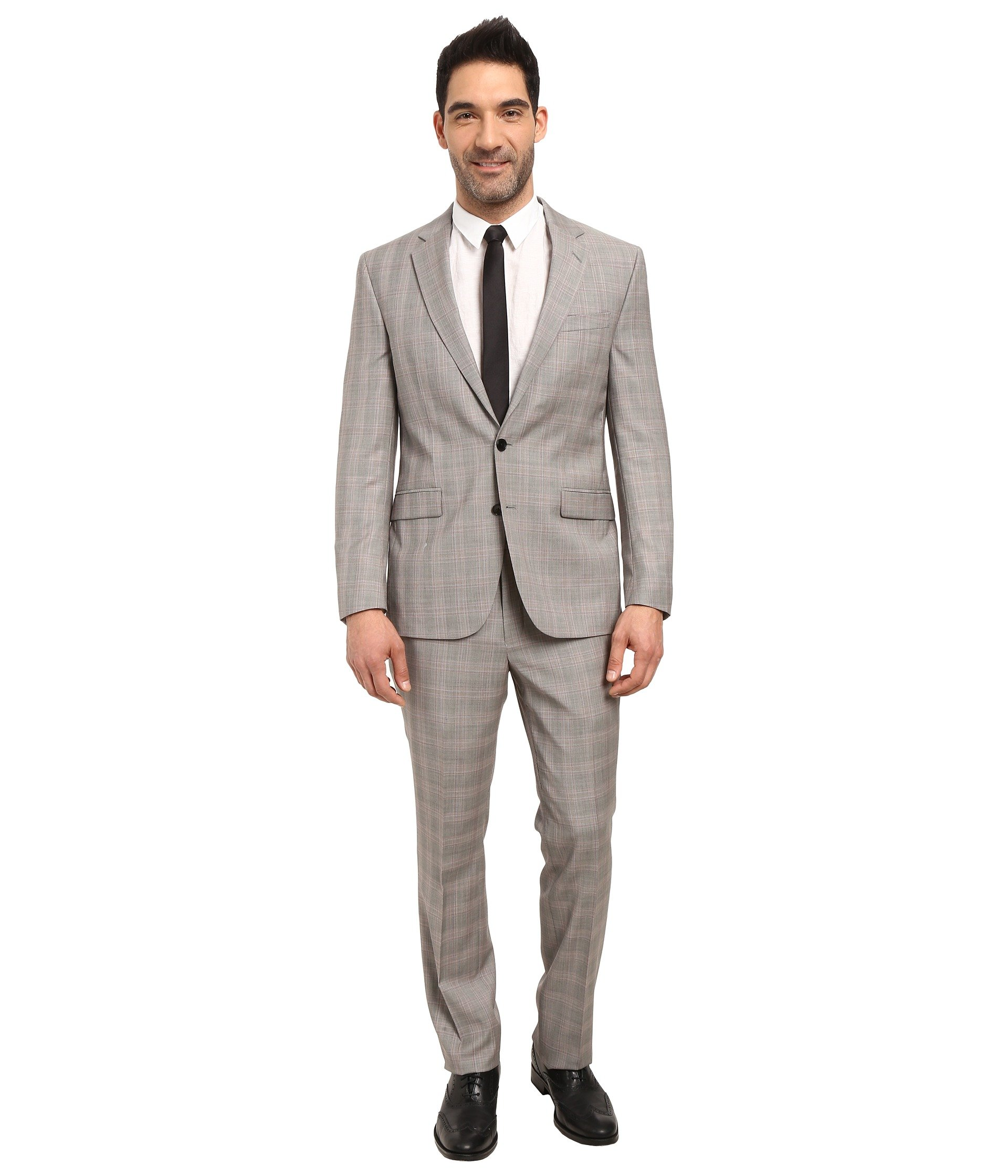 Vestido para Hombre Kenneth Cole Reaction Slim Fit Grey Plaid Suit  + Kenneth Cole Reaction en VeoyCompro.net