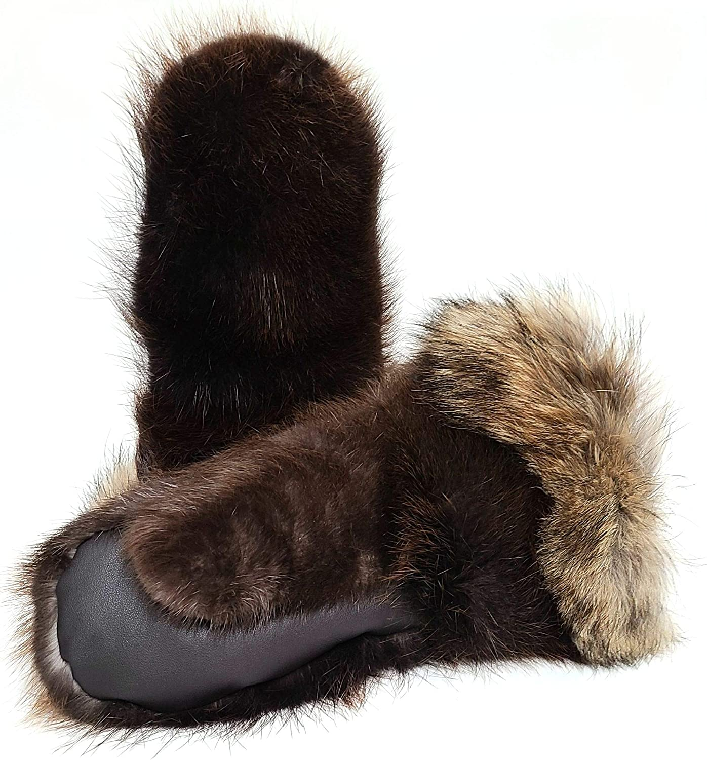 Unisex snowmobile fur mittens LONG,beaver and coyote fur, leather,sheepskin