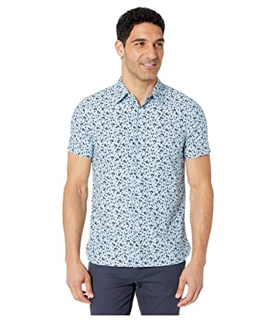 Perry Ellis Portfolio Abstract Floral Print Shirt (Mediterranian Blue) Men