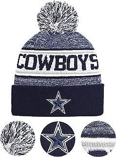 LEMOISTARS Dallas Cowboys Fans Winter Sports Cuffed Beanie Knit Hats with Pom Gift for Unisex Men Women Thanksgiving Xmas Gift