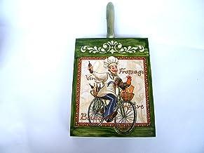 Salvamanteles de madera, Decoracion de Cocina, Placa Decorada 20 x 15 cm, Tabla de Cortar Rustico, Cocinero con Bicicleta, Regalo para Cocinero