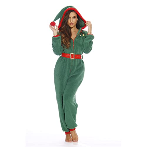 c86f4c89e0  followme Adult Christmas Onesie for Women Sherpa One-Piece Pajamas