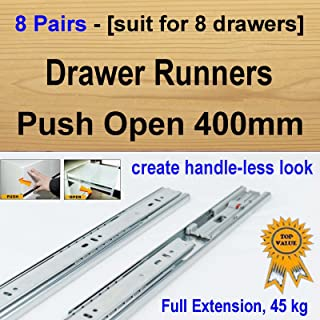 8 pairs push open ball bearing drawer runners / Slides Kitchen Vanity - 400mm