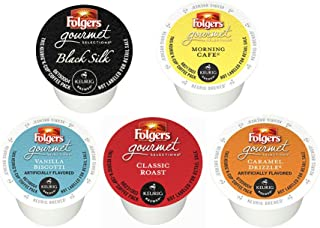 36 Count Folgers Gourmet Selections Single Cup for K-Cup Brewers - Variety Pack of 5 Flavors - 36 Count Bundle