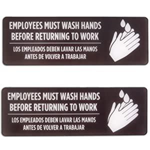 English & Spanish Employees Must Wash Hands Before Returning to Work, 2 Signs - Bilingual Handwashing Decal for Bathroom - Easy Mount Safety for Breakroom, Office, Warehouse, Restaurant, or Business