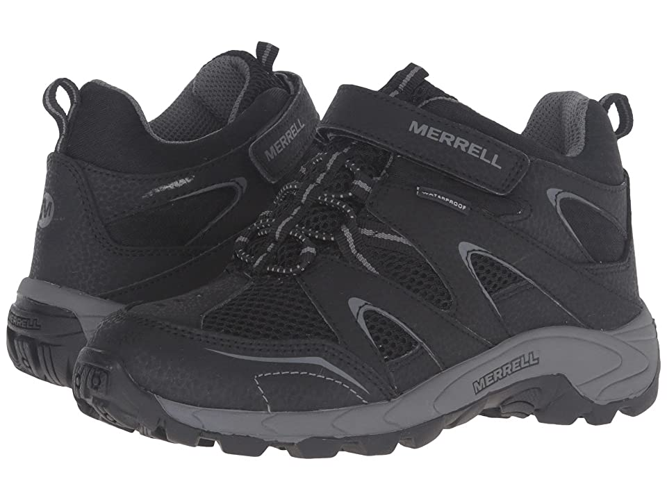 Merrell Kids Hilltop Mid Quick Close Waterproof (Little Kid) (Black Suede/Mesh) Boys Shoes