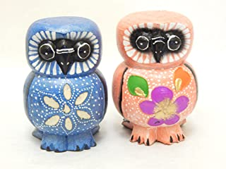 Set of 2 Wooden Owls Hand Carved and Hand Painted Wood Bali Home Decor Sculpture #N1542