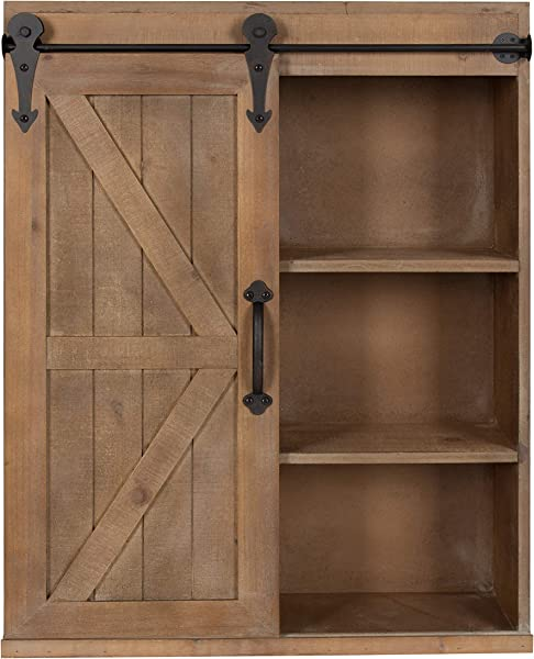 Kate And Laurel Cates Wood Wall Storage Cabinet With Sliding Barn Door Rustic Brown