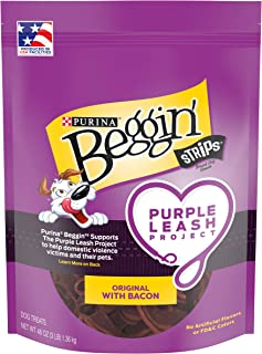 Purina Beggin' Strips Purple Leash Project Dog Treats, Original With Bacon - 48 oz. Pouch