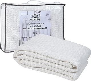 HILLFAIR 100% Soft Premium Combed Cotton Thermal Blanket– King Blankets – Soft Cozy Warm Cotton Blanket– Bed Throw Blanket– King Bed Blankets– All Season Cotton Blankets– Ivory King Cotton Blankets