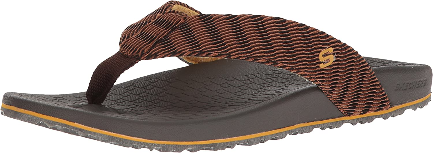 Skechers Men's Relaxed Fit-Velmen-Erever Flip-Flop,Chocolate,8 M US
