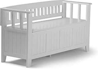 Simpli Home AX2370-W Acadian Solid Wood 48 inch Wide Rustic Entryway Storage Bench in White