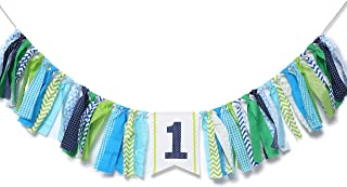WAOUH 1st Birthday High Chair Banner - First Birthday Party Decorations for Rag Tie Fabric Garland,Photo Booth Props ,Birthday Souvenir and Gifts (Blue Green Aqua High Chair Banner)