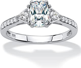 Platinum over Sterling Silver Emerald Cut Created White Sapphire Engagement Ring