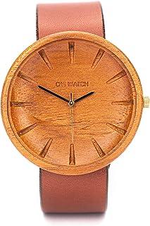 Reloj Madera Hombre, Ovi Watch 100% Hecho a Mano Natural de Teak Madera Analógico Cuarzo Japonés con Correa Piel, Ligero, ...