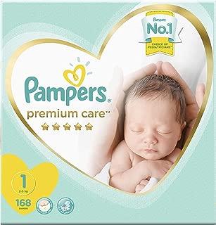 Pampers Premium Care Diapers, Size 1, Newborn, 2-5 kg, Mega Box, 168 Count