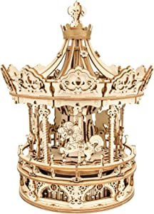 ROKR 3D Wooden Puzzles Music Box - DIY Model Building Kit Mechanical Merry-go-Round Exquisite Display Gifts for Teens Man/Woman Family