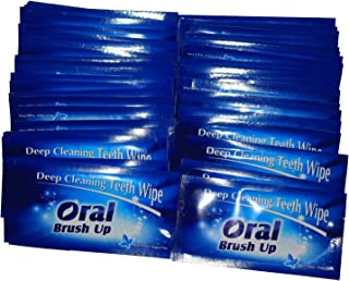 Mint Flavor Finger Teeth Wipes Disposable Brush Ups,Pack of 100,Dark Blue