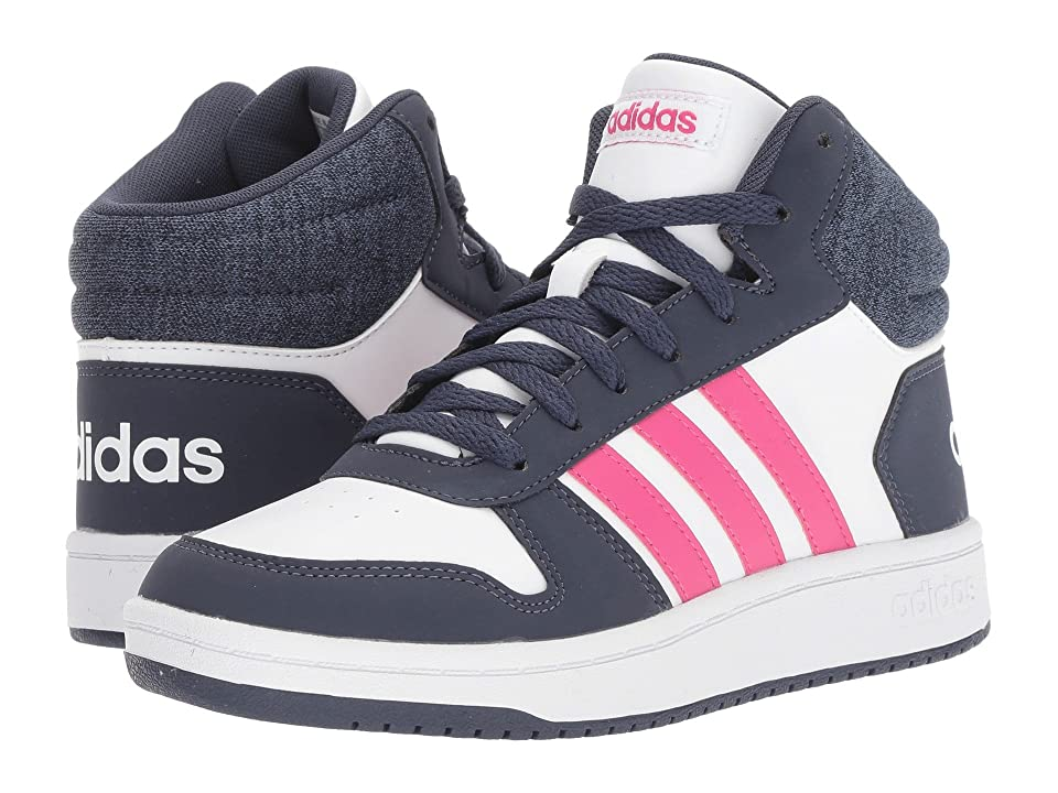 adidas Kids Hoops Mid 2 (Little Kid/Big Kid) (White/Real Magenta/Trace Blue) Kids Shoes