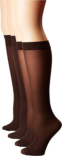 HUE - Cable/Rib/Opaque Assorted Knee High 4-Pair Pack