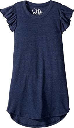 Super Soft Tri-Blend Flutter Sleeve Shirttail Dress (Little Kids/Big Kids)
