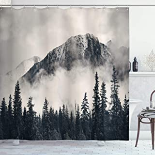 "Ambesonne National Parks Shower Curtain, Canadian Smokey Mountain Cliff Outdoors Idyllic Scenery Photo Artwork, Cloth Fabric Bathroom Decor Set with Hooks, 70"" Long, Black White"