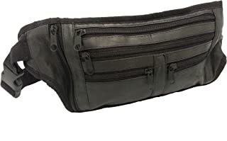Real Soft Leather Waist Bum Bag Money Belt 5 Compartments Leisure Travel Holiday