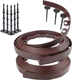 Chrispol - Borde para césped de color negro, marrón, verde, 10 m, 20 m, 50 m de largo, 4 cm de alto, cercado, con clavos d...