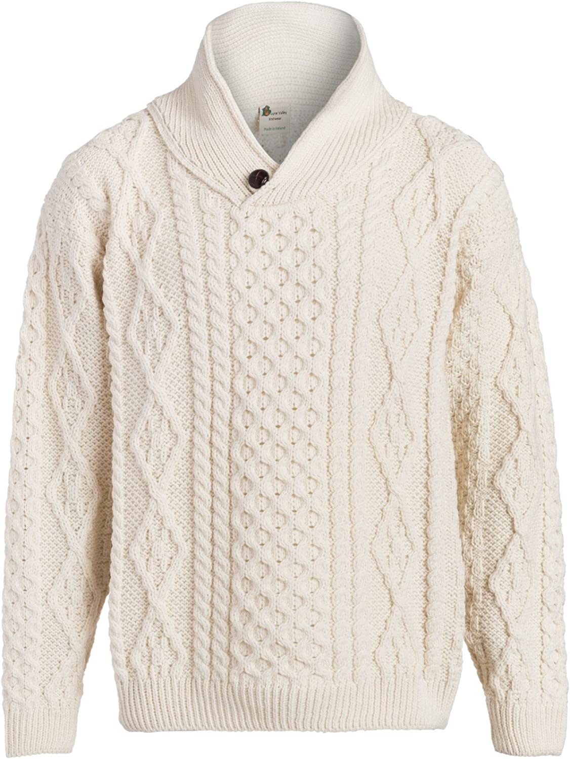 Boyne Valley Knitwear Mens One Button Shawl Wool Collar Cable Sweater