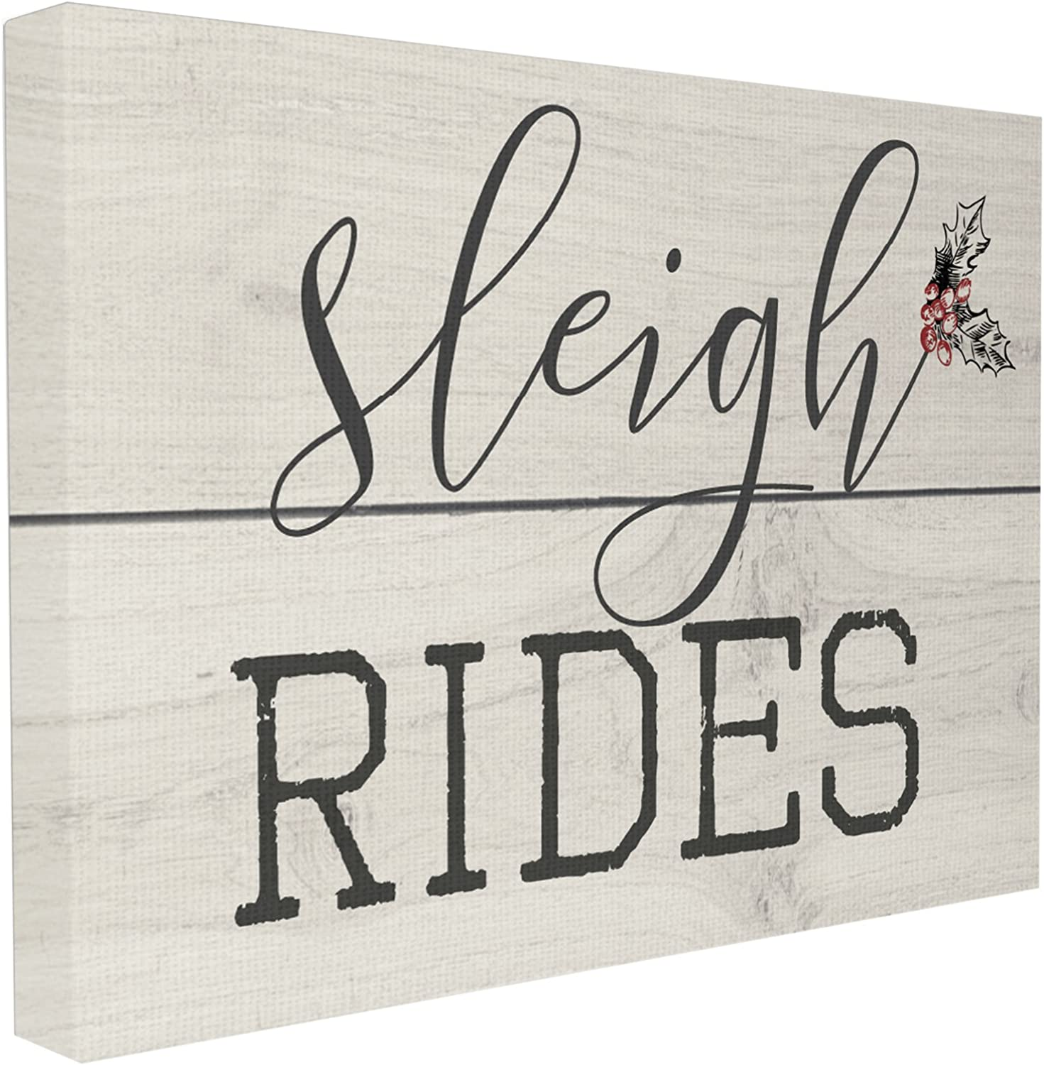 Stupell Industries Sleigh Rides Vintage Christman Sign Stretched Canvas Wall Art, Proudly Made in USA