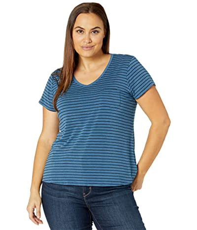 Prana Plus Size Foundation Short Sleeve Top (Admiral Heather Stripe) Women
