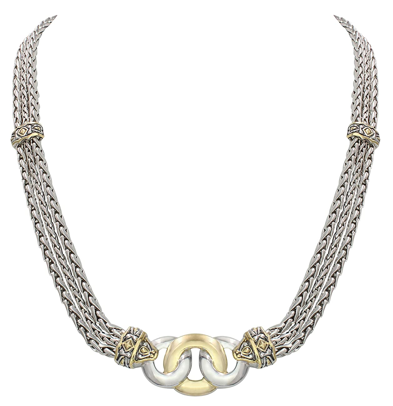 John Medeiros Two Tone Necklace for Women Triple Strand Chain Three Circle Design Made in America 17