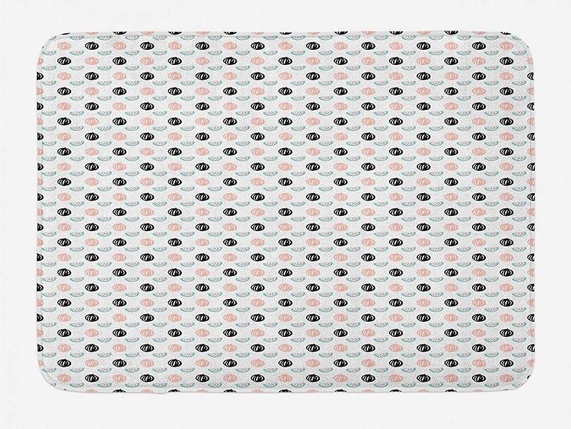 セントアサー布フルーツバスマット、滑り止めバッキングとハンドペイントスイカスライスベリー、ぬいぐるみバスルームインテリアマットの単純なパターン、40×60センチ、ブラッシュチャコールグレーシーフォームダークコーラル [並行輸入品]