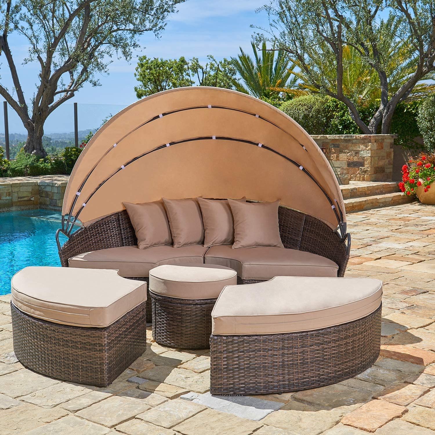 SUNCROWN Outdoor Patio Round Free shipping / New Daybed with Bro Bargain sale Canopy Retractable