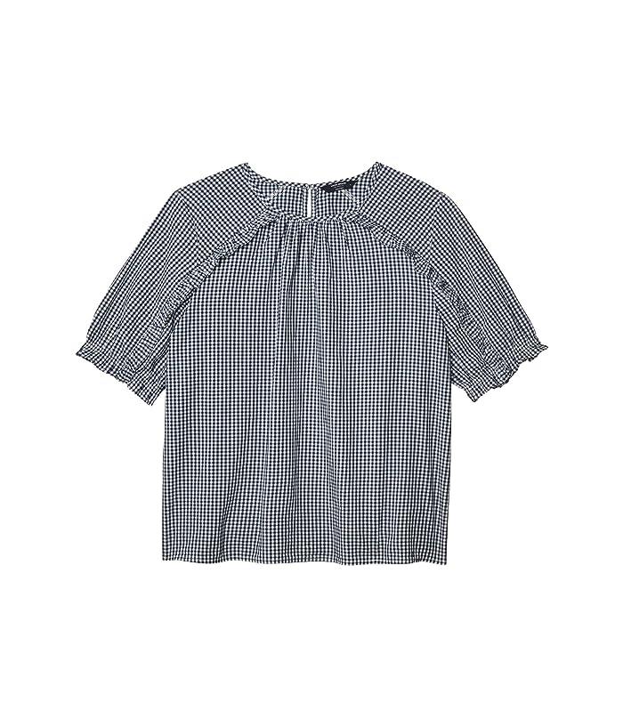 Lucky Brand  Short Sleeve Crew Neck Lauren Ruffle Top (Navy Multi) Womens Clothing