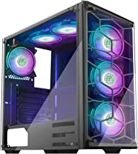 MUSETEX 2×USB3.0,6PCS 120mm RGB Fans,Phantom Black ATX Mid-Tower Chassis Gaming PC Case,2 Tempered Glass Panels Gaming Sty...