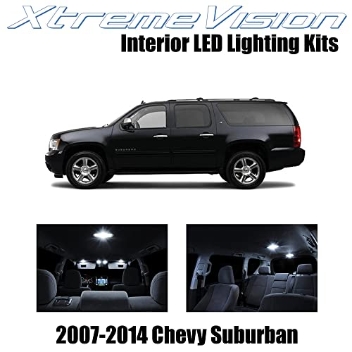 Xtremevision Interior LED for Chevy Suburban 2007-2014 (14 Pieces) Pure White Interior LED Kit + Installation Tool