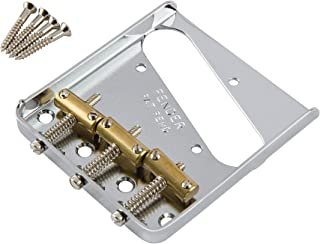 Fender Telecaster Chrome Bridge Assembly with 3 Brass Saddles for American Vintage and Mexican Vintage Telecaster