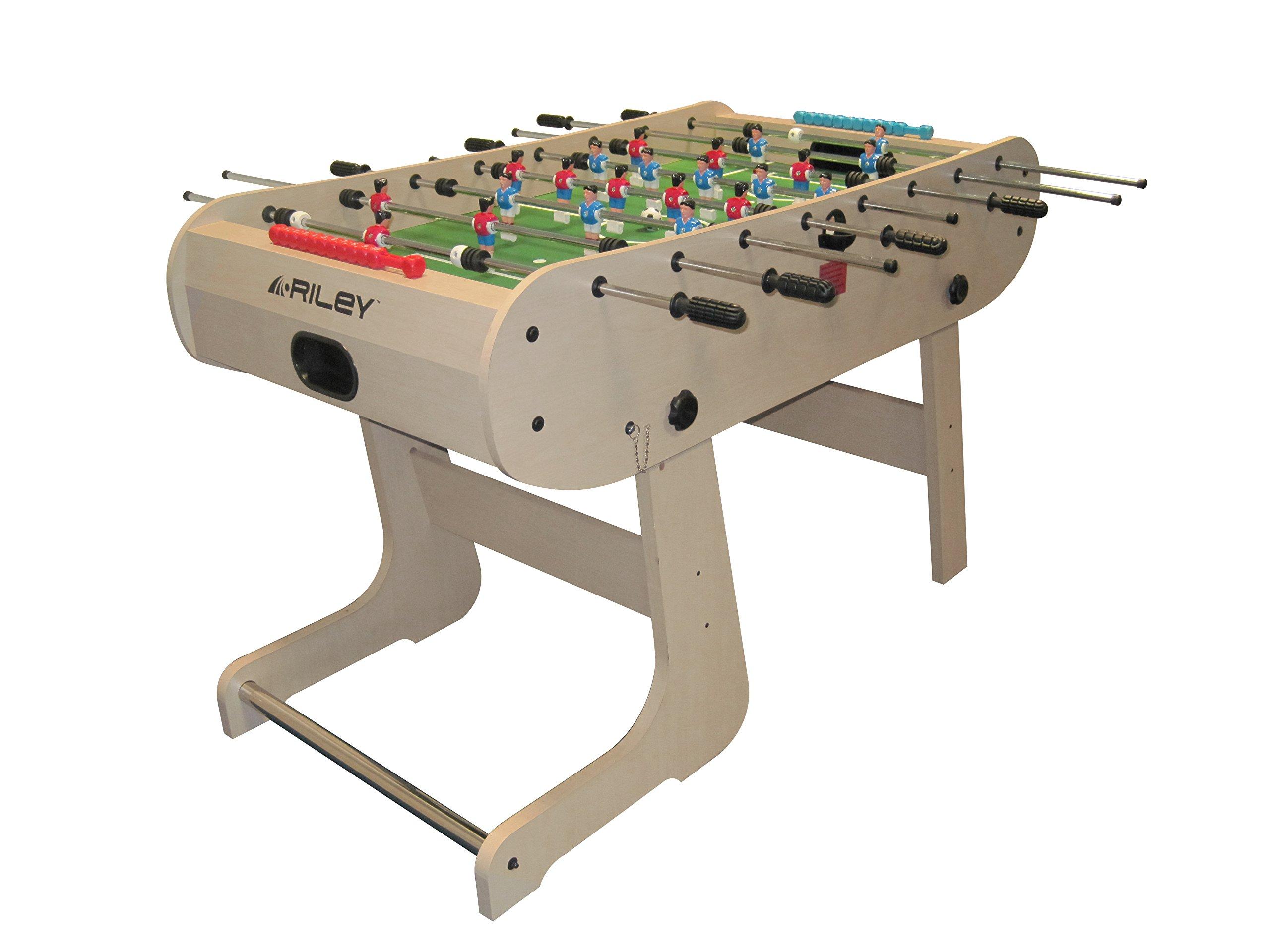 Riley Mesa de futbolín Riley HFT-5N plegable (Formación: 3-2-5-3, Barras suaves y cromadas, Porterías integradas): Amazon.es: Juguetes y juegos