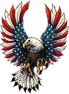 Screaming American Flag Bald Eagle with Black Tips X Large Decal is 18.0