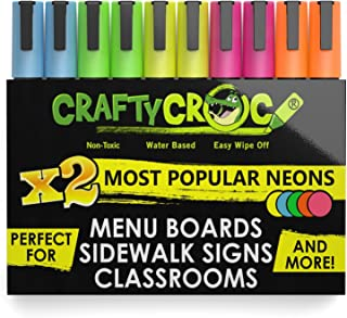 Crafty Croc Liquid Chalk Markers, Glow in the Dark Neon Chalk Pens, Includes 2 Each Fluorescent Yellow, Blue, Green, Orange and Pink (10 Pack)