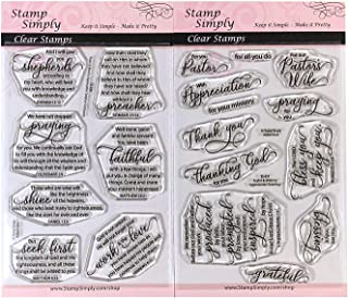 Stamp Simply Clear Stamps Pastor and Ministry Appreciation Greetings Christian Religious (2-Pack) 4x6 Inch Sheets - 19 Pieces