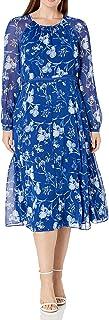 Tommy Hilfiger Women's Classic Chiffon Long Sleeve Midi Dress
