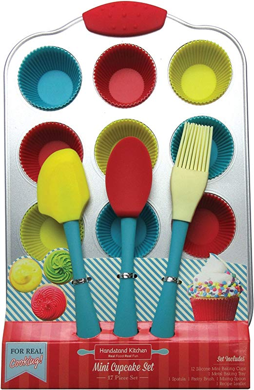 Handstand Kitchen 20 Piece Real Mini Cupcake Baking Set With Recipes For Kids