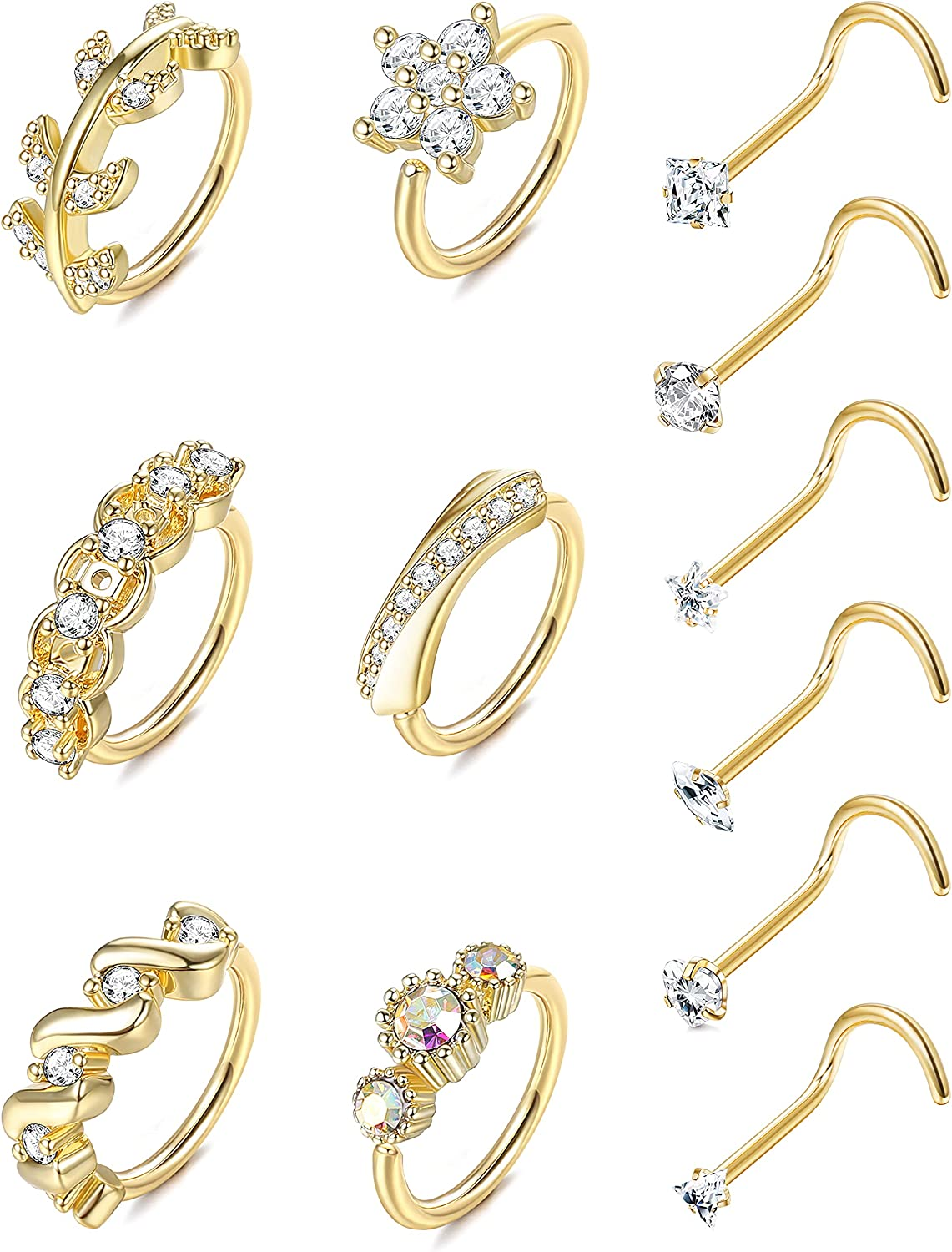 Drperfect 20G Surgical Steel Nose Ring Hoop for Women Men Paved CZ Leaf Flower Nose Piercing Jewelry L Shaped Screw Bone CZ Nose Ring Stud Set