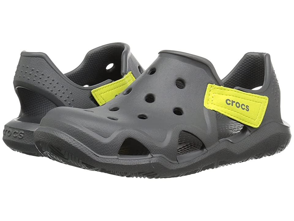Crocs Kids Swiftwater Wave (Toddler/Little Kid) (Slate Grey/Tennis Ball Green) Kid
